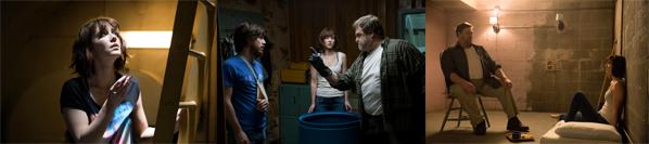 John Goodman as Howard, Mary Elizabeth Winstead as Michelle, and John Gallagher Jr. as Emmett in 10 CLOVERFIELD LANE, by Paramount Pictures