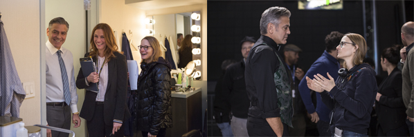 George Clooney (Lee Gates, left), Julia Roberts (Patty Fenn, center) and Director Jodie Foster on the set of TriStar Pictures' MONEY MONSTER
