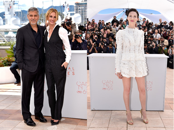 """CANNES, FRANCE - MAY 12:  Actors George Clooney and Julia Roberts attend the """"Money Monster"""" photocall during the 69th annual Cannes Film Festival at the Palais des Festivals on May 12, 2016 in Cannes, France.  (Photo by Clemens Bilan/Getty Images)"""