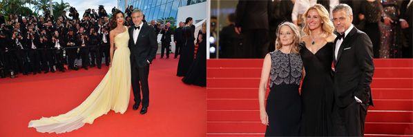"""Cannes, France - May 12, 2016: Hollywood heavyweights steal the spotlight with the most talked about film at Cannes.  US actor George Clooney (R) and his wife, British-Lebanese lawyer Amal Clooney pose as they arrive for the screening of the film """"Money Monster"""" at the 69th Cannes Film Festival.  / AFP / LOIC VENANCE        (Photo credit should read LOIC VENANCE/AFP/Getty Images)"""