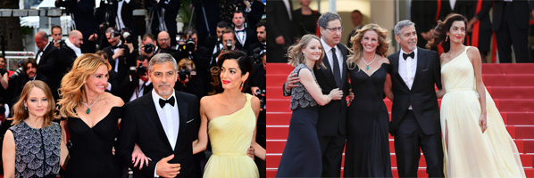 Cannes, France - May 12, 2016: Hollywood heavyweights steal the spotlight with the most talked about film at Cannes.  (l to r) Director Jodie Foster, Julia Roberts, George Clooney and Amal Clooney attend the 'Money Monster' premiere during the 69th annual Cannes Film Festival at the Palais des Festivals.(Photo by Isa Saiz/NurPhoto via Getty Images)