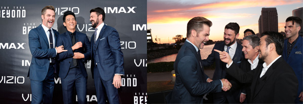 """SAN DIEGO, CA - JULY 20:  (L-R) Actors Chris Pine, John Cho, and Karl Urban attend the world premiere of the Paramount Pictures title """"Star Trek Beyond"""" at Embarcadero Marina Park South on July 20, 2016 in San Diego, California.  (Photo by Frazer Harrison/Getty Images) *** Local Caption *** Chris Pine;Karl Urban;John Cho"""