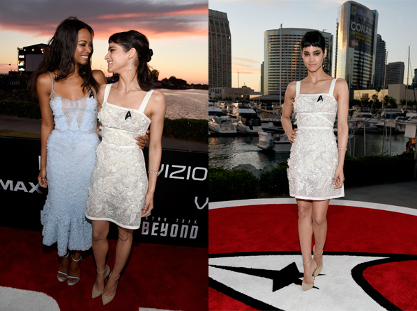 """SAN DIEGO, CA - JULY 20:  Actresses Zoe Saldana (L) and Sofia Boutella attend the world premiere of the Paramount Pictures title """"Star Trek Beyond"""" at Embarcadero Marina Park South on July 20, 2016 in San Diego, California.  (Photo by Frazer Harrison/Getty Images) *** Local Caption *** Sofia Boutella;Zoe Saldana"""